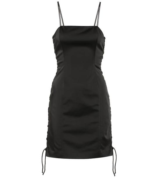 Unravel Sateen triple lace minidress in black