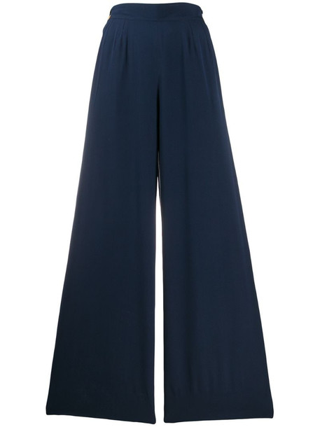 Chanel Pre-Owned 1990s silk side-buttoned wide-legged trousers in blue