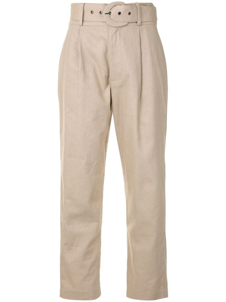 ANINE BING low-waist belted trousers in brown
