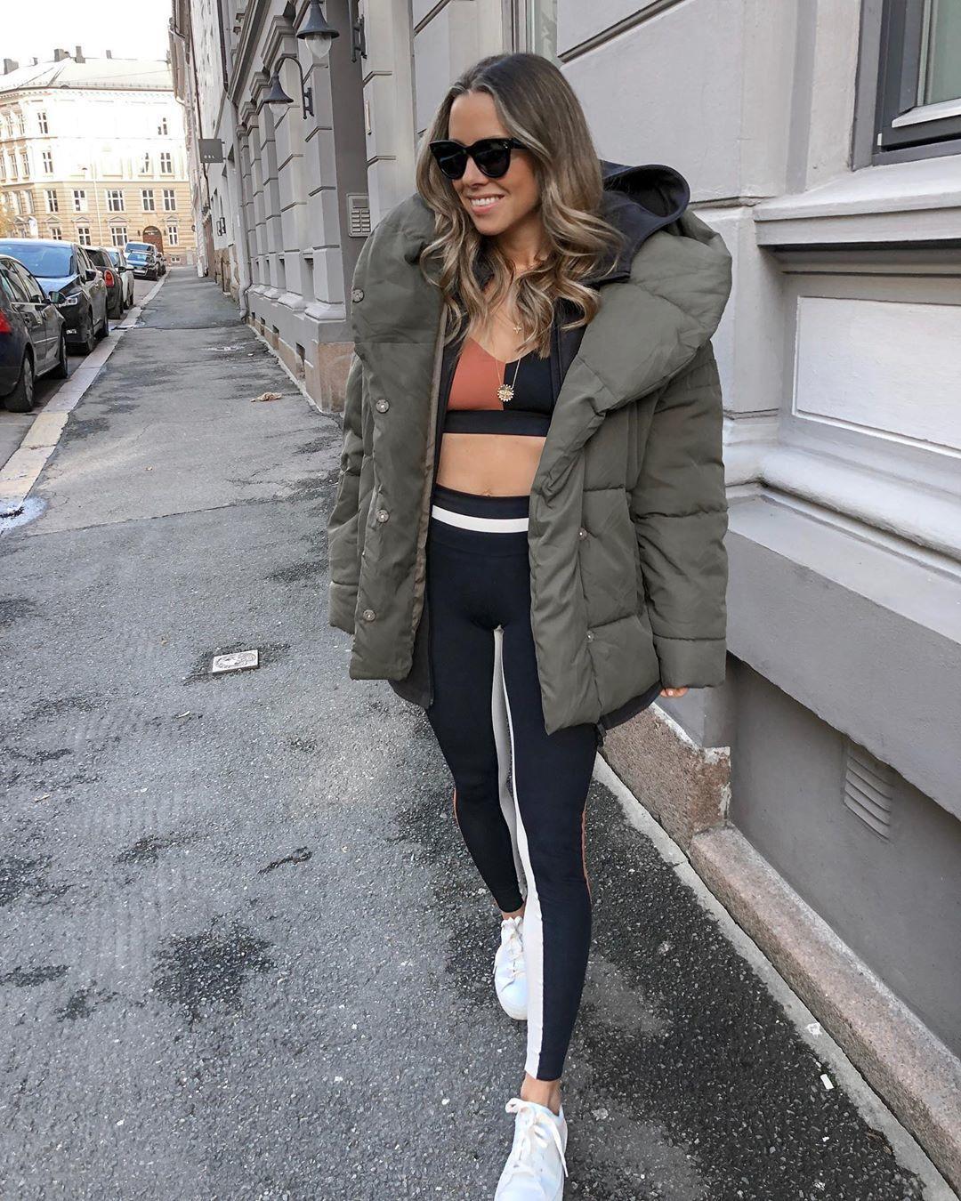 pants black leggings sports bra sportswear white sneakers hoodie puffer jacket