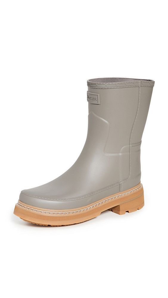 Hunter Boots Refined Short Stitch Boots in grey