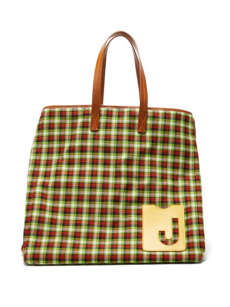 La Doublej - Big Mama Checked Leather-handle Tote Bag - Womens - Green Multi