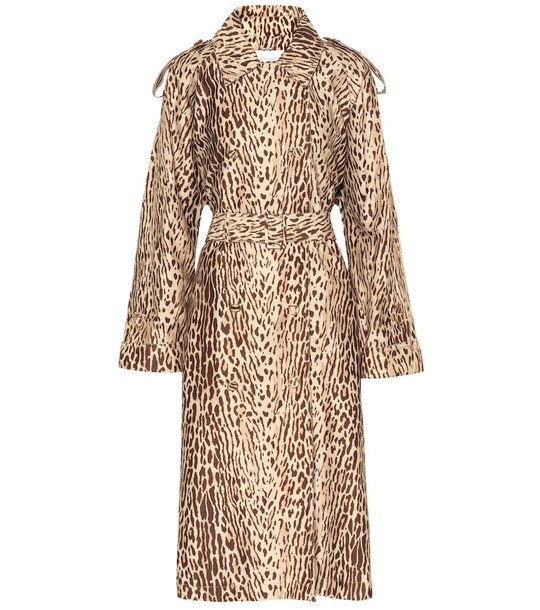 Zimmermann Leopard-print denim trench coat in beige