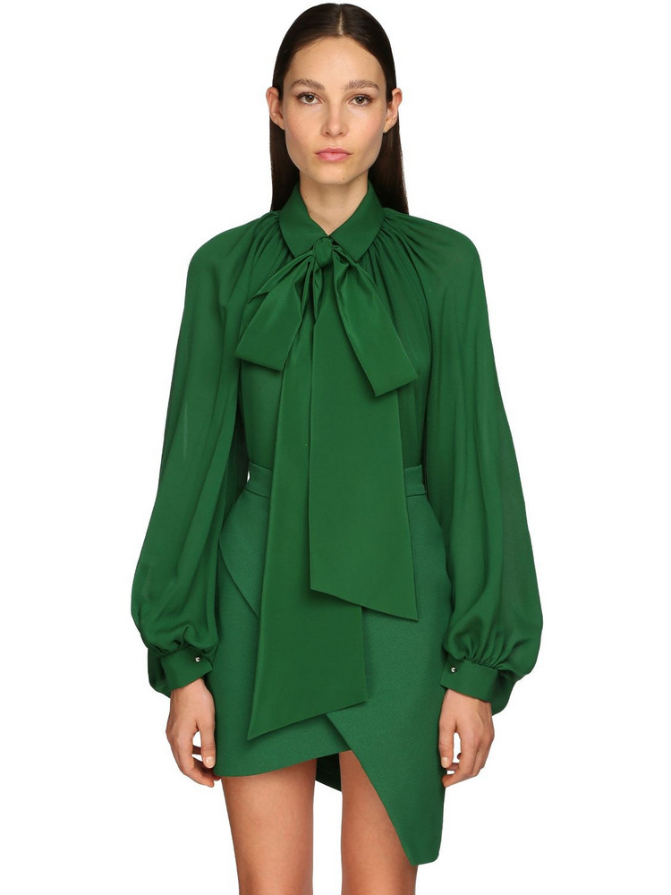 ELIE SAAB Silk Georgette Blouse in green