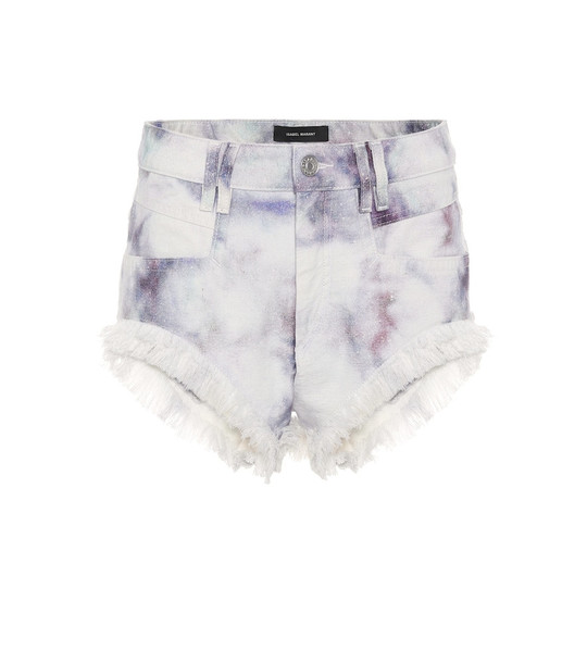 Isabel Marant Eneida tie-dye denim shorts in white