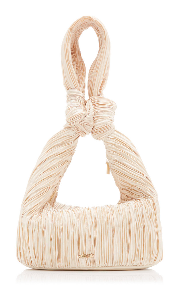Cult Gaia Mina Pleated Shoulder Bag in neutral