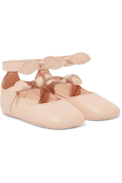 Chloé Kids - Sizes 17 - 19 Bow-detailed Leather Ballet Flats in pink