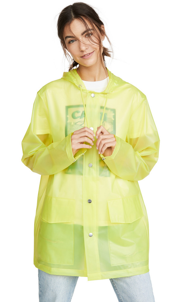 Rains Ltd Short Hooded Coat in yellow