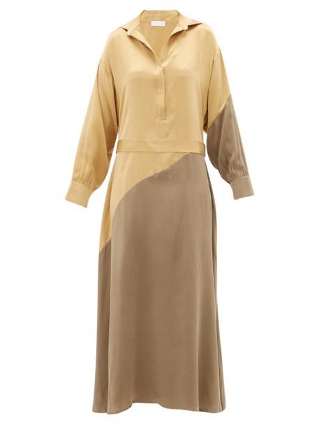 Asceno - Santana Panelled Silk Shirtdress - Womens - Yellow Multi