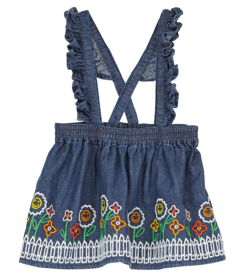 Stella McCartney Kids Embroidered denim skirt in blue