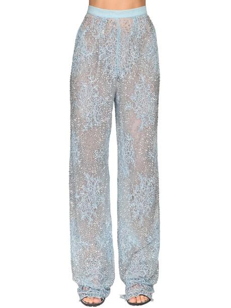 ERMANNO SCERVINO Embellished Sheer Lace Wide Leg Pants in blue
