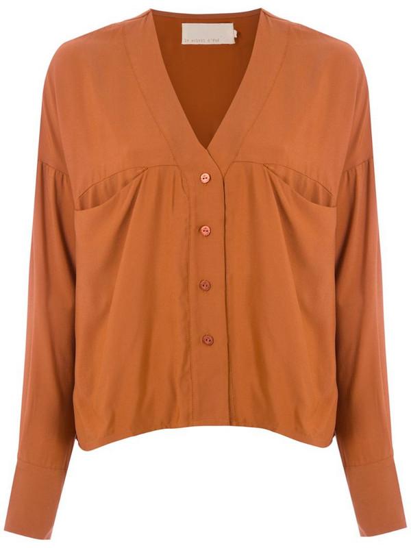 LE SOLEIL D'ETE Pietra V-neck shirt in brown