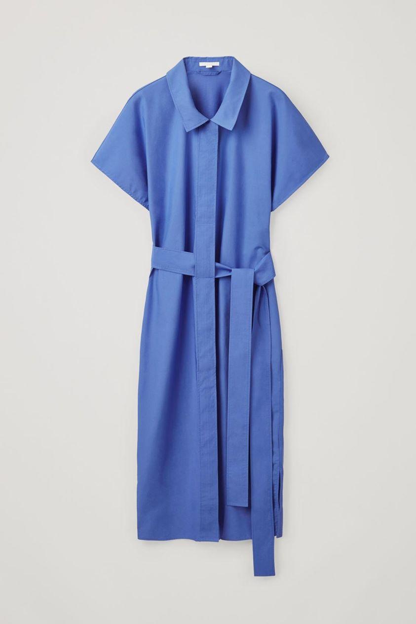 WOVEN-JERSEY BELTED SHIRT DRESS