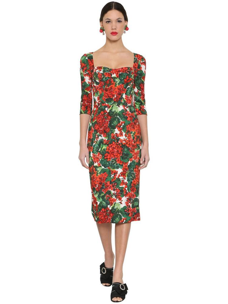 DOLCE & GABBANA Printed Stretch Cady Midi Dress in red / multi
