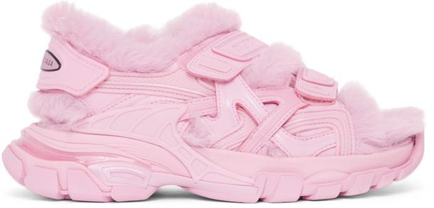 Balenciaga Pink Faux-Fur Track Sandals