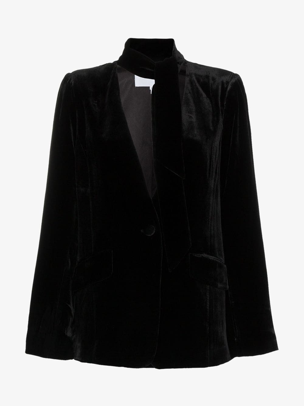 Frame Denim FRAME tie neck collarless silk blend velvet blazer in black