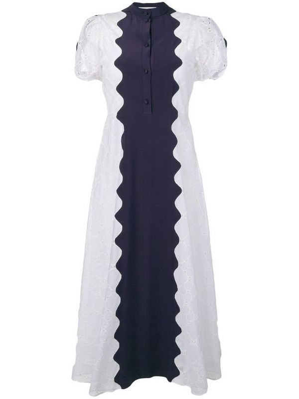 Valentino scalloped eyelet midi dress in white