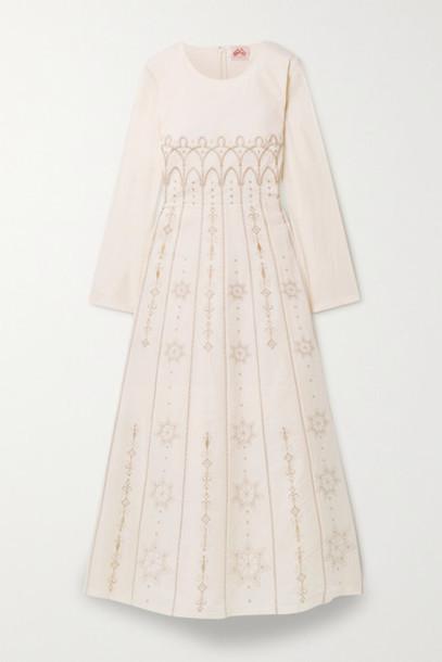 Le Sirenuse Positano - Tracey Palazzina Embroidered Cotton Maxi Dress - Pastel pink