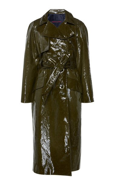 Martin Grant Waterproof Cotton-Blend Trench Coat Size: 38 in green