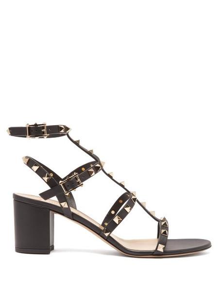 Valentino - Rockstud Block Heel Leather Sandals - Womens - Black