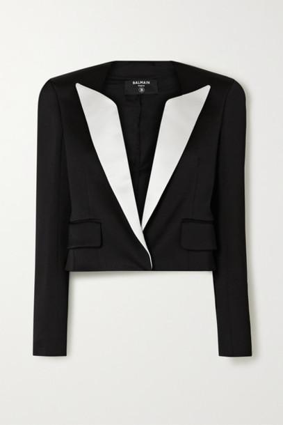 Balmain - Cropped Two-tone Duchesse-satin Blazer - Black