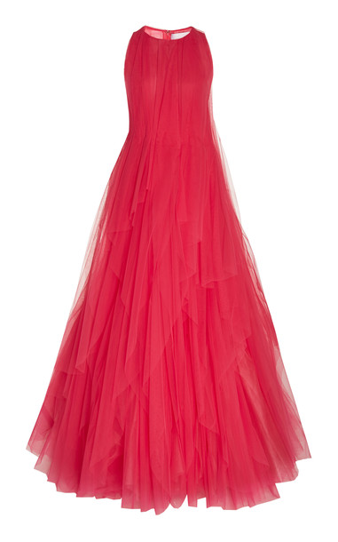 Carolina Herrera Layered Pleated Tulle Gown in pink