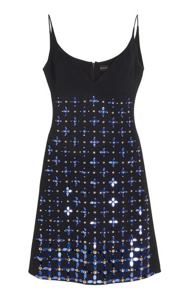 David Koma Beaded Crepe Mini Dress in blue