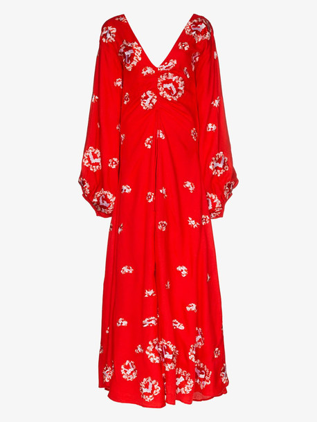 All Things Mochi Catalina floral embroidery ruched gown in red
