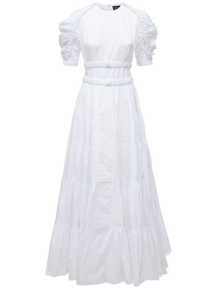 GIOVANNI BEDIN Godet Cotton Poplin Long Dress in white