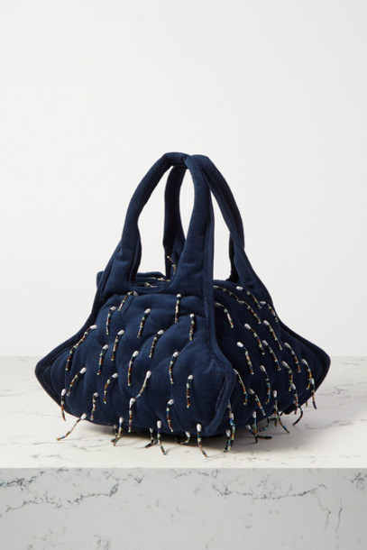 Khaore - Pillow Faux Pearl And Bead-embellished Velvet Tote - Navy
