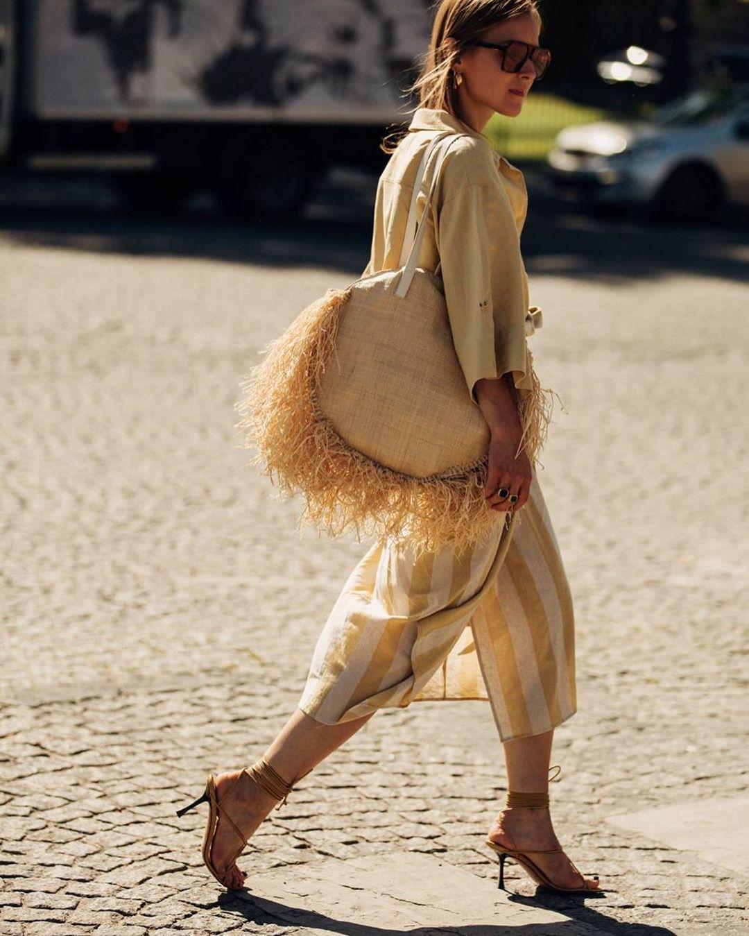 bag shoulder bag sandals midi dress striped dress