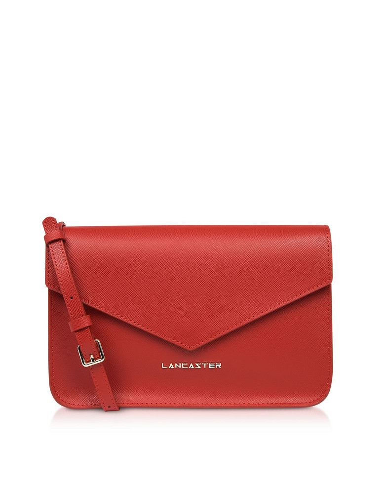 Lancaster Paris Adeline Saffiano Leather Flap Clutch W/shoulder Strap in red