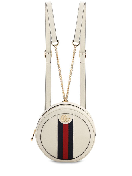 GUCCI Ophidia Round Leather Backpack in white