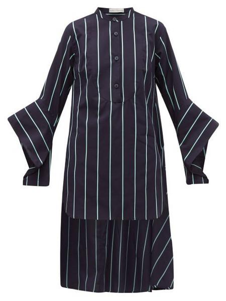 Palmer/harding Palmer//harding - Echo Open Cuff Striped Cotton Shirt - Womens - Blue
