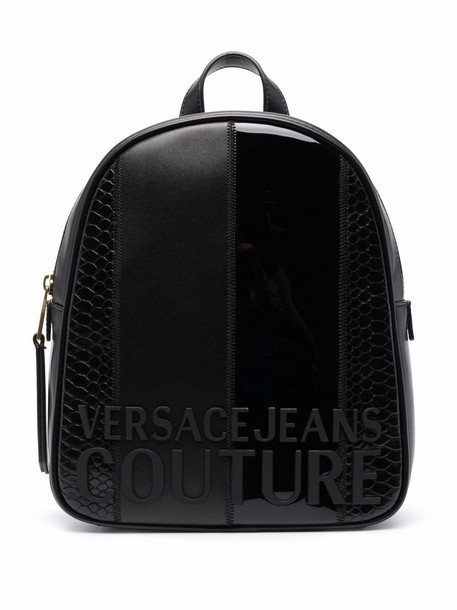 Versace Jeans Couture crocodile-effect embossed-logo backpack - Black