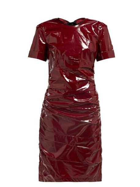 No. 21 - Ruched Tie Back Glossed Poplin Dress - Womens - Burgundy