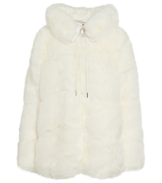 Moncler Epilobe faux fur down jacket in white