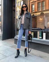 jeans,straight jeans,black boots,ankle boots,black bag,mango,grey jacket,turtleneck sweater