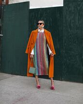 dress,midi dress,striped dress,zara,sequin dress,pumps,white shirt,shoulder bag,orange coat,earrings