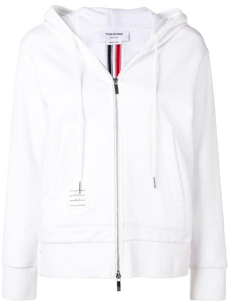 Thom Browne Center-Back Stripe Zip-Up Hoodie in white