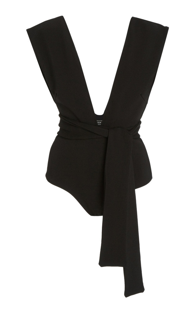 Haight Belted Crepe One-Piece Swimsuit in black