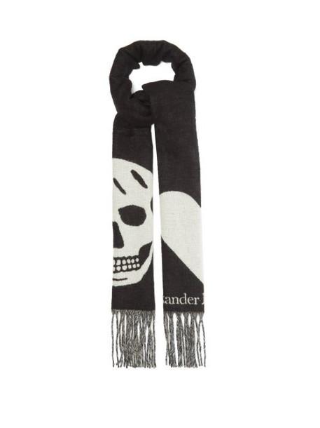 Alexander Mcqueen - Skull And Heart Jacquard Wool-blend Gauze Scarf - Womens - Black Multi