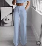 pants,baby blue wide leg pants