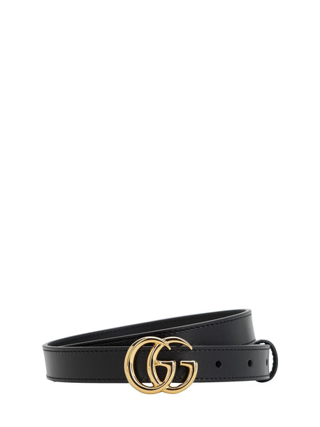 GUCCI 20mm Gg Marmont Shiny Leather Belt in black