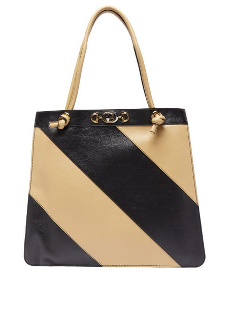 Gucci - Zumi Striped Leather Tote Bag - Womens - Black White