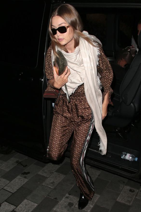 top brown burberry pants shirt gigi hadid model off-duty fall outfits fashion week