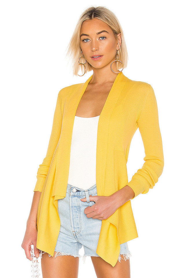 Autumn Cashmere Rib Drape Cardigan in yellow