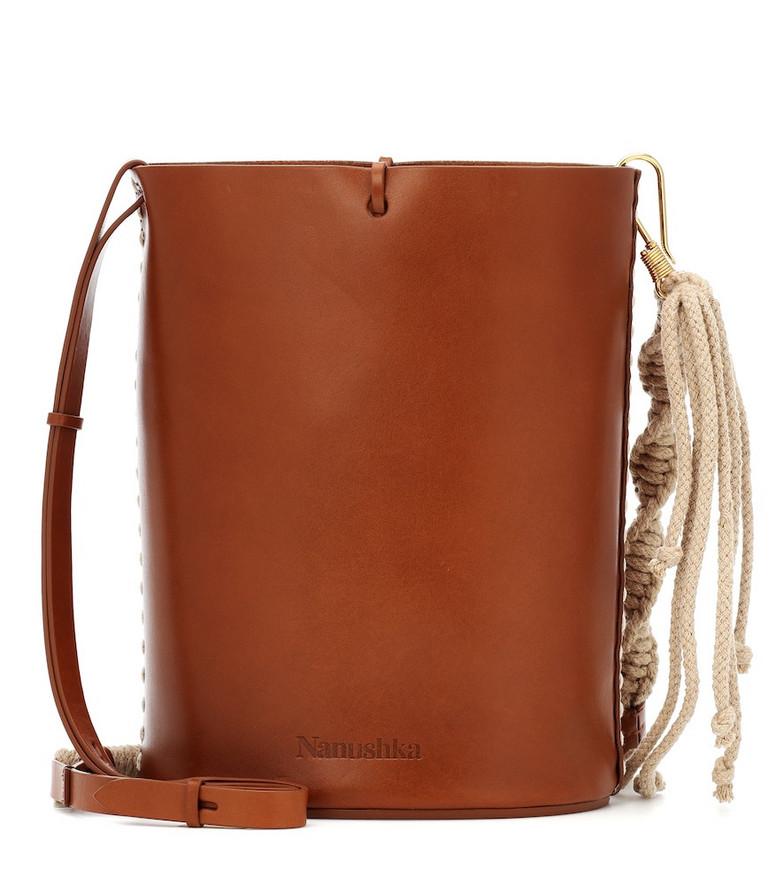 Nanushka Nia Mini leather bucket bag in brown