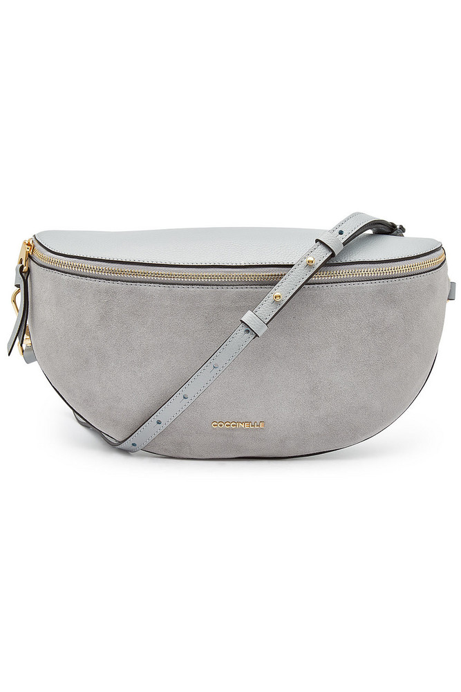 Coccinelle Persefone Leather and Suede Shoulder Bag  in grey