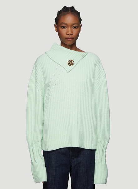 JW Anderson Popper-Fastening Chunky Knit Sweater in Green size S